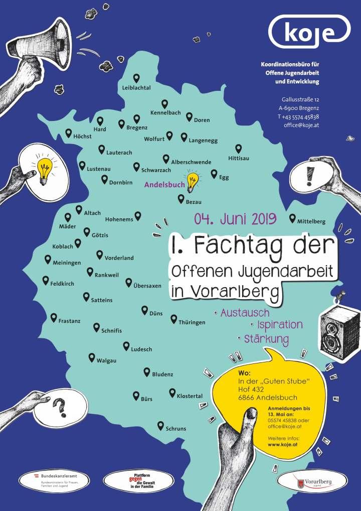 Plakat mit Karte des Landes Vorarlberg für den 1. Fachtag der Offenen Jugendarbeit in Vorarlberg.