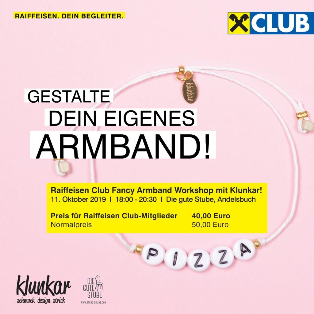 Raiba Club Fancy Armband Workshop mit Simone Angerer von Klunkar in der Guten Stube in Andelsbuch.
